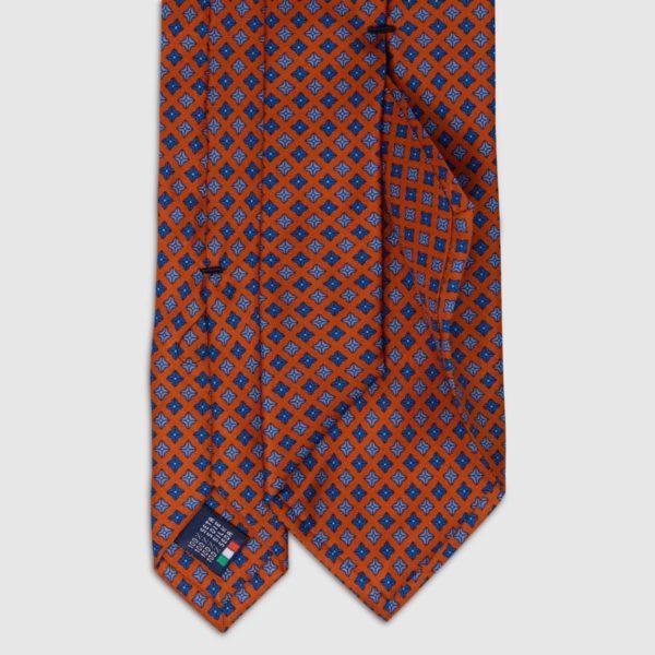 Cravatta in Seta arancione con motivo a pois quadrati