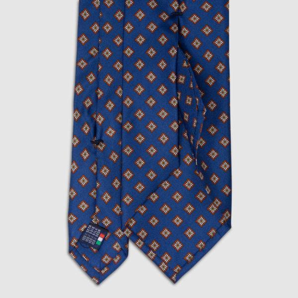 Cravatta in Seta con motivo a quadrati marroni blu notte