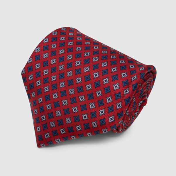 Red with Square Dots Pattern Silk Tie