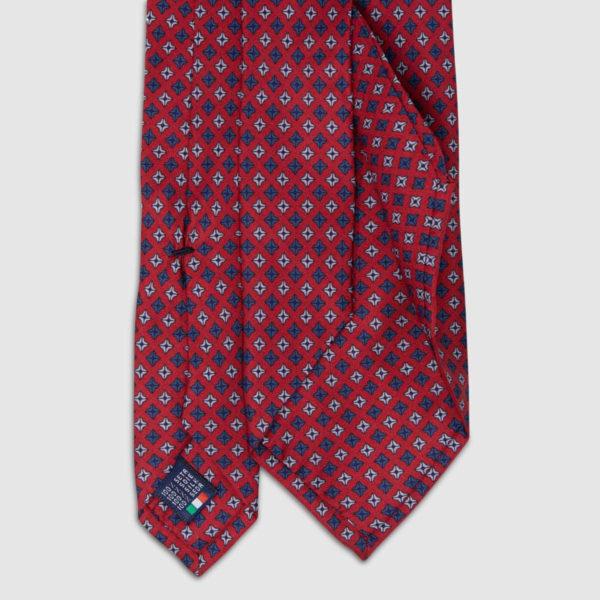 Cravatta in Seta rossa con motivo a pois quadrati