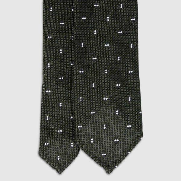 Cravatta in Seta verde con granatina a pois