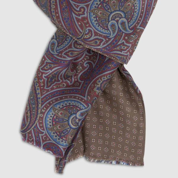 Brown and burgundy Paisley Habotai Silk Scarf