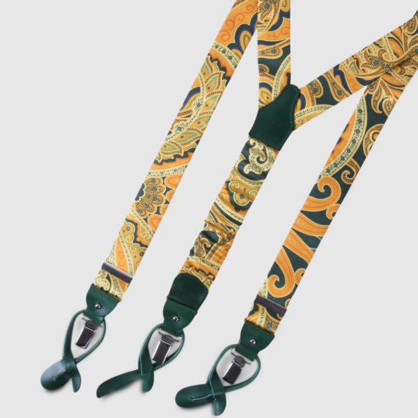 Bretelle in Seta con motivo giallo e verde