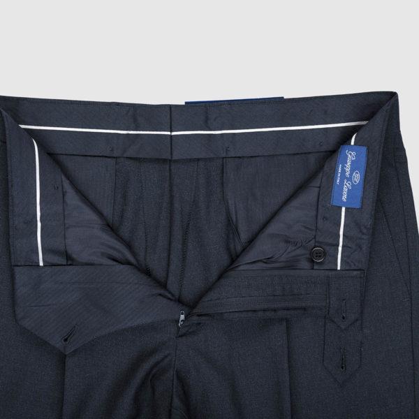 Pantalone 1 pince in lana Super 100's in blu scuro