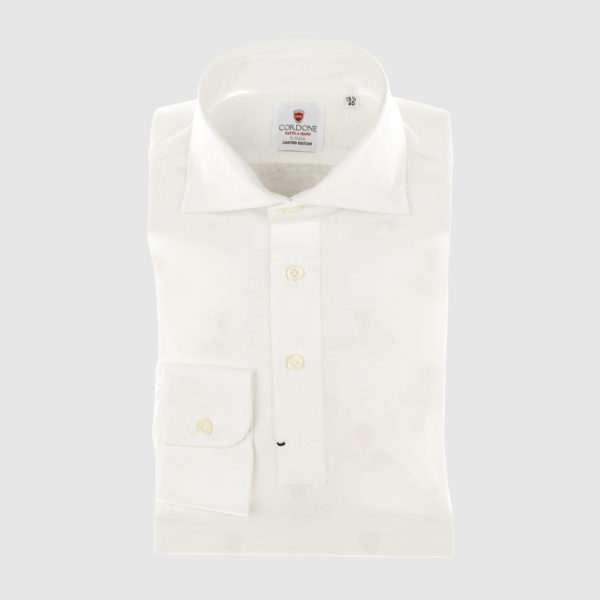 White Cotton Long-sleeved Polo Shirt