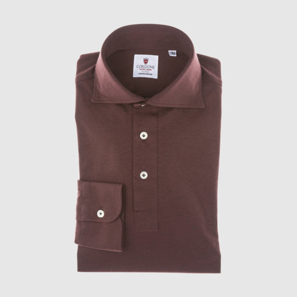 Polo in cotone Bordeaux a maniche lunghe