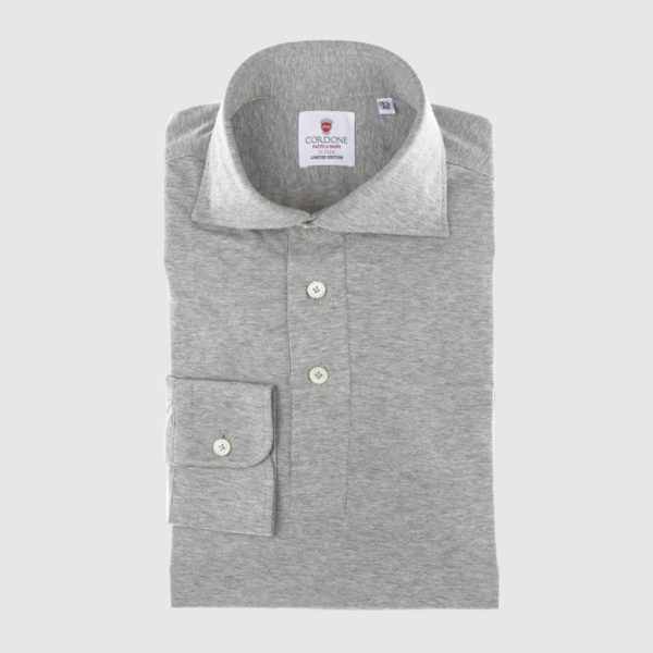 Gray Long-sleeved Polo Shirt