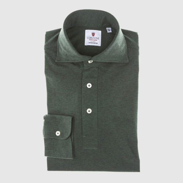 Green Long-sleeved Polo Shirt