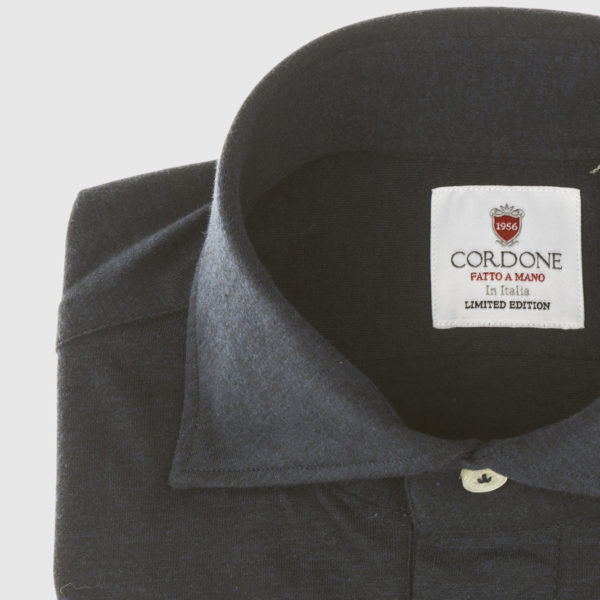 Black Cotton Long-sleeved Polo Shirt
