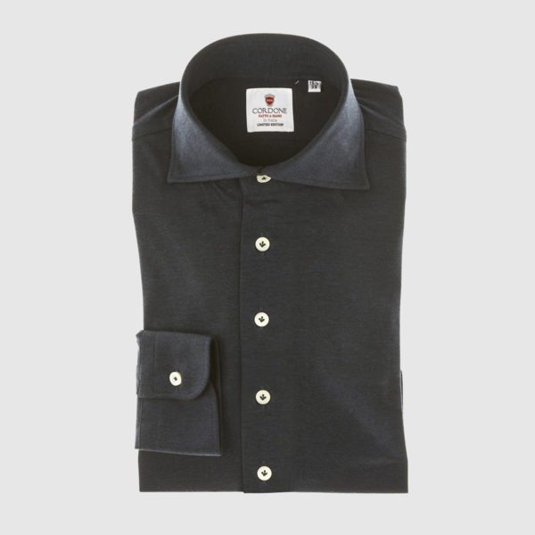 Cordone Black Cotton Shirt
