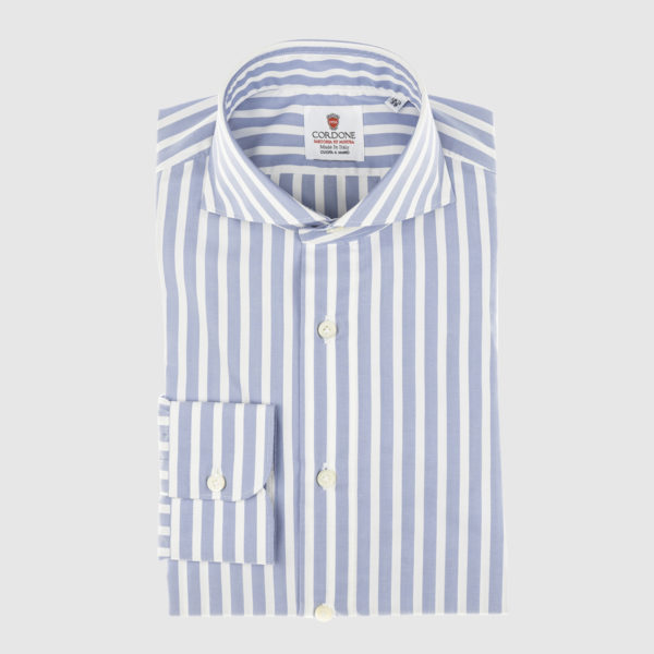 Cordone Azure Large Striped Cotton Shirt