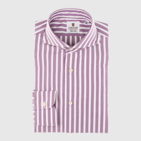 Cordone Maroon Large Striped Cotton Shirt