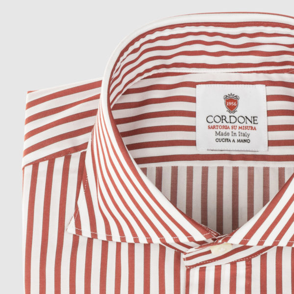 Cordone Red Thin Striped Cotton Shirt