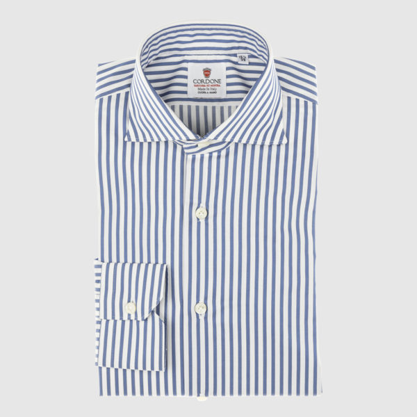 Cordone Azure Thin Striped Cotton Shirt