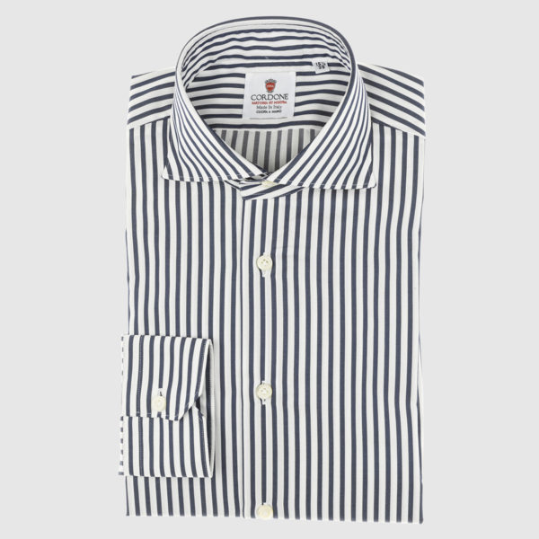 Cordone Blue Navy Thin Striped Cotton Shirt