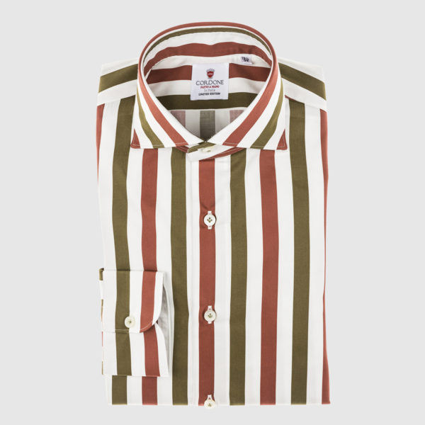 Cordone Red and Green Large Striped Cotton Shirt