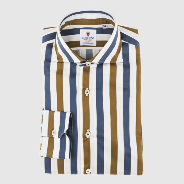 Blue and Ocra Yellow Large Striped Cotton Shirt