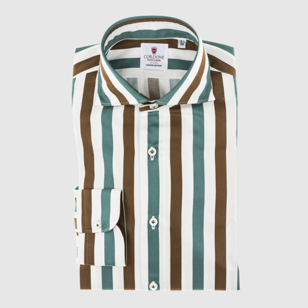 Cordone Acqua Green and Brown Large Striped Cotton Shirt