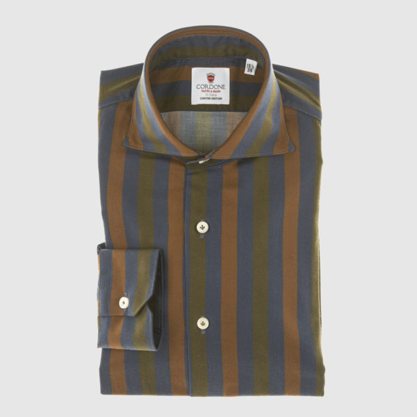 Cordone Blue-Green and Brown Large Striped Cotton Shirt