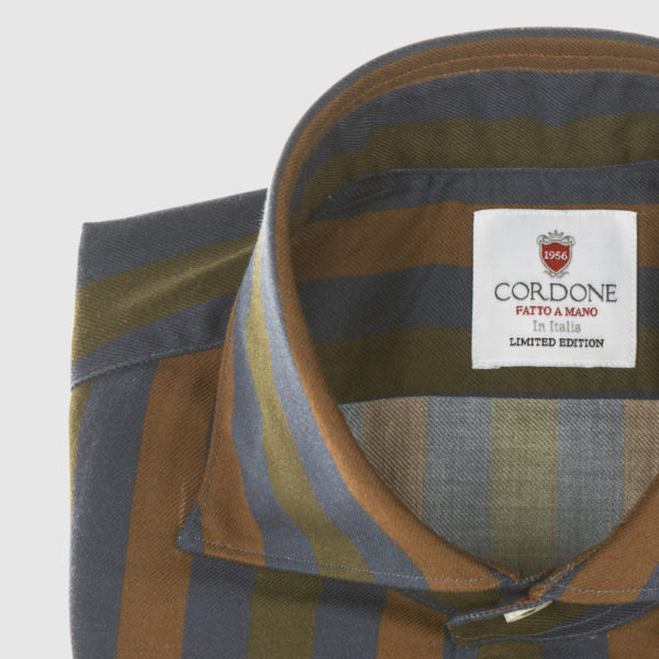 Camicia in cotone a righe larghe cordone blu-verde e marrone