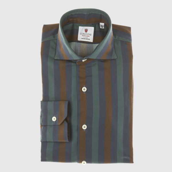 Cordone Green-Blue and Brown Large Striped Cotton Shirt
