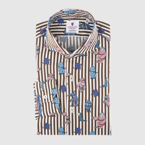 Cordone Brown Striped Cotton Shirt with Animals