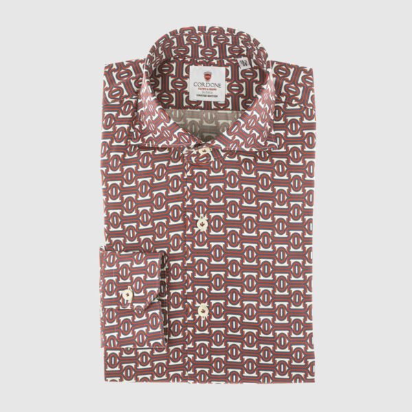 Cordone Red and Blue Fantasy Cotton Shirt