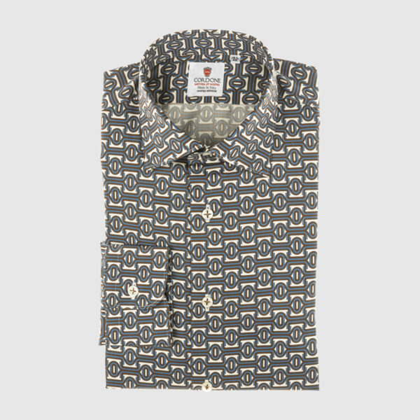 Cordone Celestial and Brown Fantasy Cotton Shirt