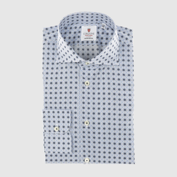 Cordone Celestial and Blue Fantasy Cotton Shirt