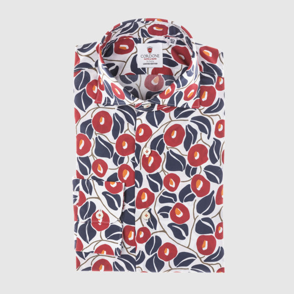 White Red and Blue Fantasy Cotton Shirt