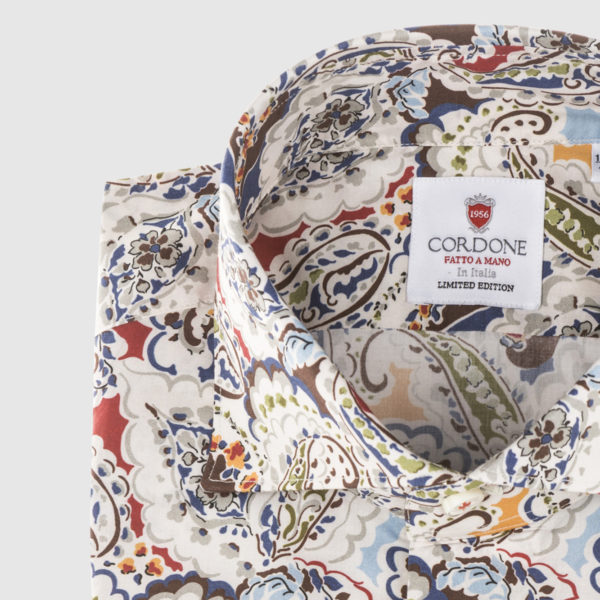 Cordone White and Multicolor Paisley Cotton Shirt