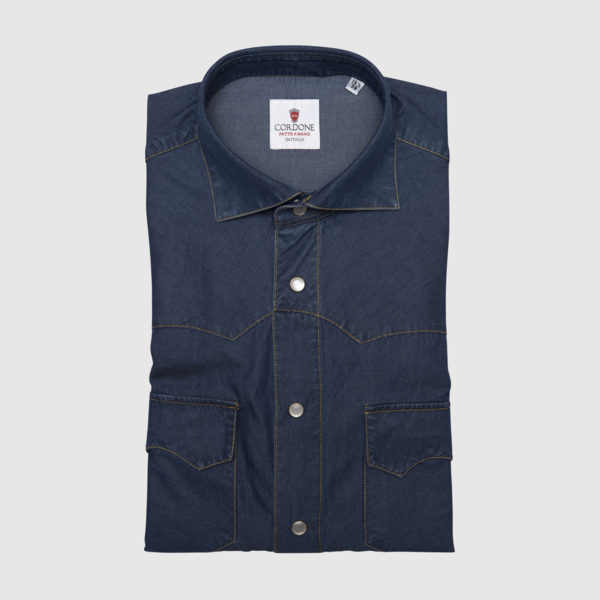 Cordone Light Denim Shirt with Frontal pockets