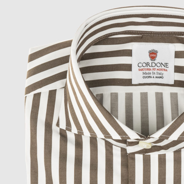 Cordone Brown Striped Cotton Shirt