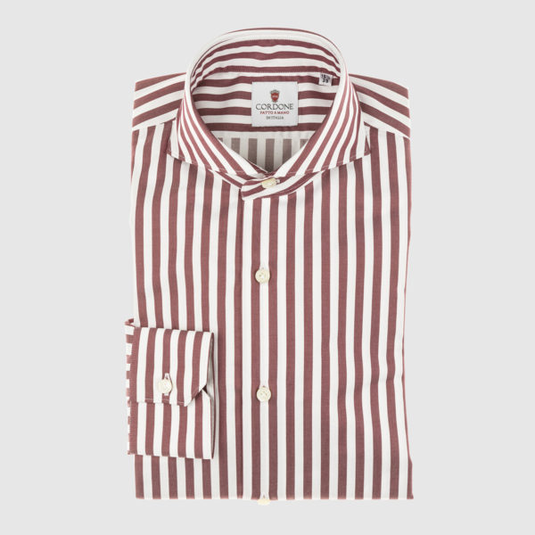 Cordone Maroon Striped Cotton Shirt