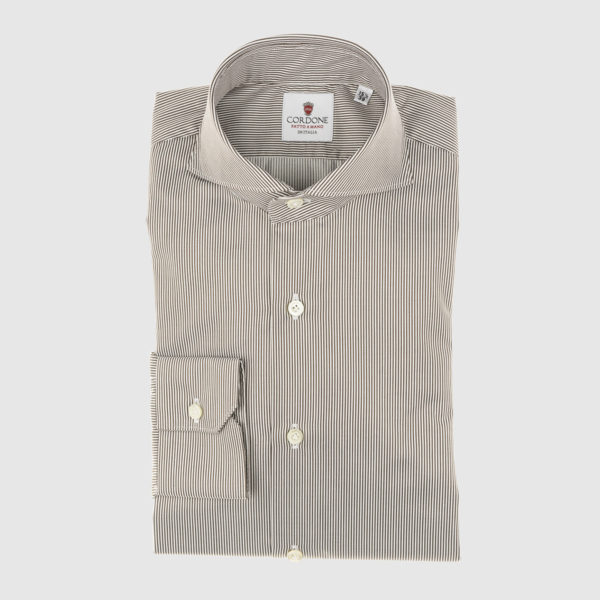 Cordone Brown Thin Striped Cotton Shirt