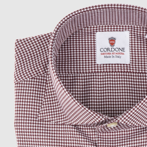 Cordone Red Pied De Poule Cotton Shirt