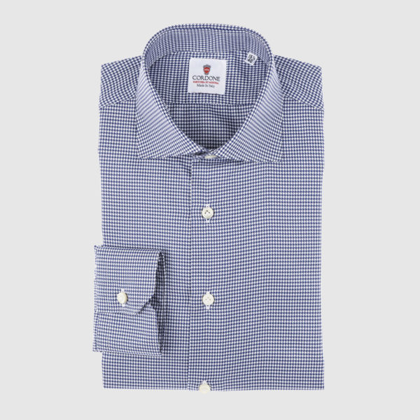 Cordone Blue Pied De Poule Cotton Shirt