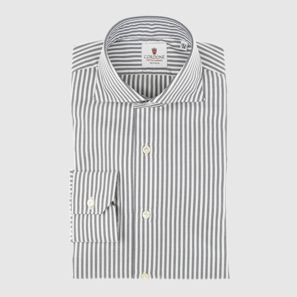 Blue Navy Fantasy Striped Cotton Shirt