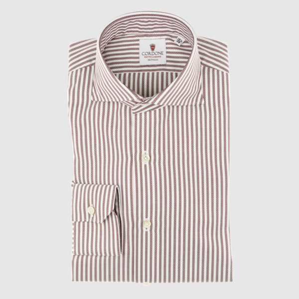 Cordone Red Fantasy Striped Cotton Shirt
