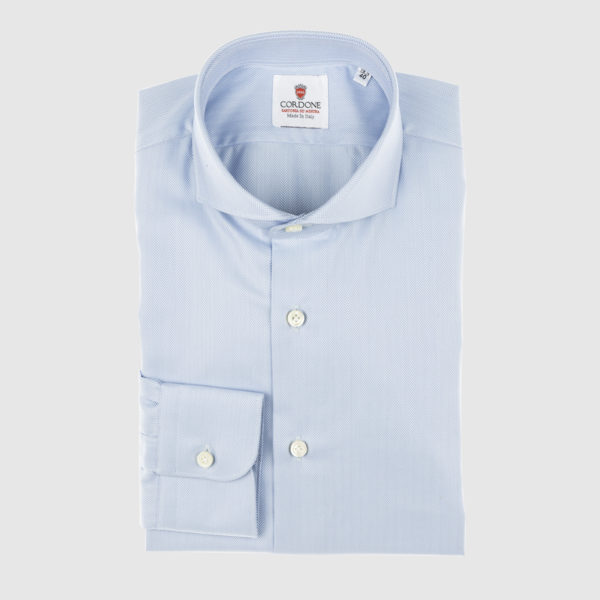 Cordone Celestial Herringbone Cotton Shirt
