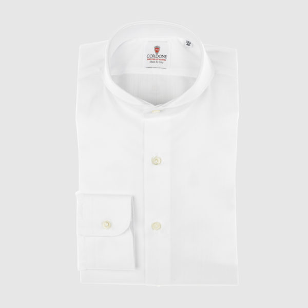 Cordone White Herringbone Cotton Shirt