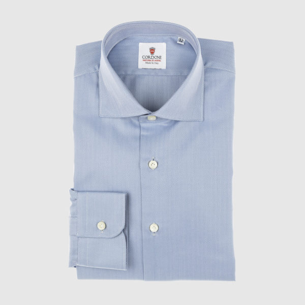 Cordone Blue Herringbone Cotton Shirt