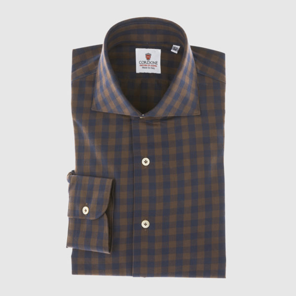 Brown and Blue Plaid Cotton Shirt