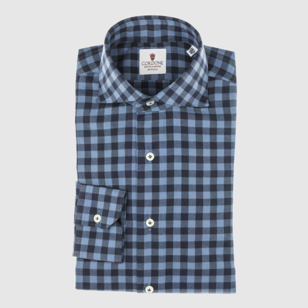 Blue and Celestial Plaid Cotton Shirt