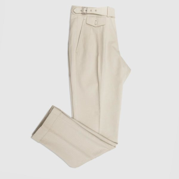 Cream Cotton Two Pleats Trousers