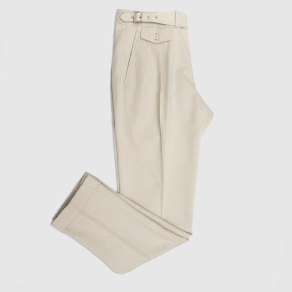 Pantalone 2 Pinces Cotone Panna