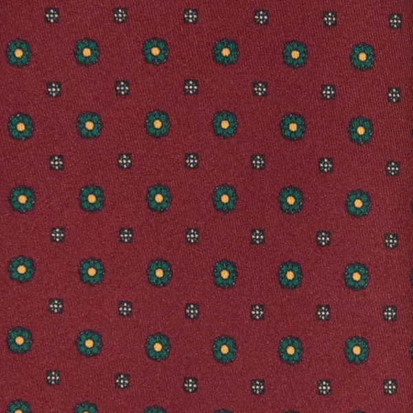 Burgundy with small flowers Pattern Silk Tie