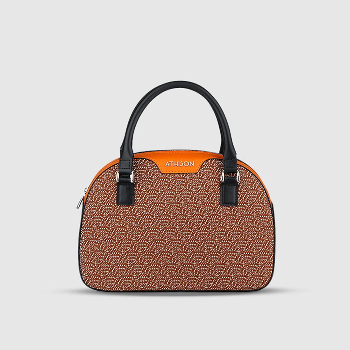 Athison Orange Cotton & Viscose Handbag