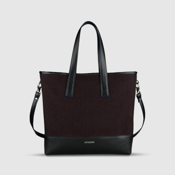 Athison Cotton & Leather Tote Bag