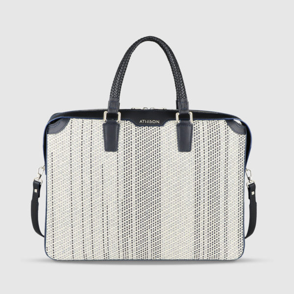 Athison White/Blue Leather Bag